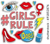 girls rule. fashion badges ... | Shutterstock .eps vector #691852876