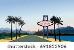 las vegas city skyline. travel... | Shutterstock .eps vector #691852906
