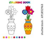 flowers in vase    coloring...   Shutterstock .eps vector #691852963