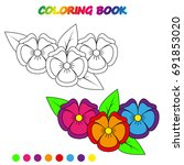 worksheet. pansies  flowers     ... | Shutterstock .eps vector #691853020