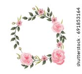 vector flowers beautiful wreath.... | Shutterstock .eps vector #691853164
