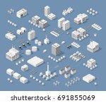 set of modern isometric... | Shutterstock .eps vector #691855069