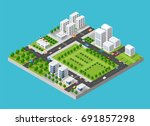 city isometric of urban... | Shutterstock .eps vector #691857298
