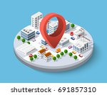 isometric pin icon on the... | Shutterstock .eps vector #691857310