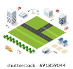 set of modern isometric... | Shutterstock .eps vector #691859044