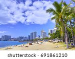 hawaii waikiki beach | Shutterstock . vector #691861210