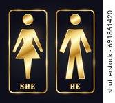 golden man and woman silhouette ... | Shutterstock .eps vector #691861420