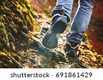 Hikers Boots On Forest Trail....