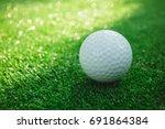 golf ball with putter on green...   Shutterstock . vector #691864384