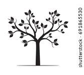 black tree. vector illustration. | Shutterstock .eps vector #691865530