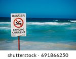 danger sign for strong current... | Shutterstock . vector #691866250