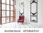 huge luxury white hall with... | Shutterstock . vector #691866514