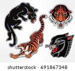 set of wild cat designs....   Shutterstock .eps vector #691867348