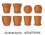 realistic vector brown empty... | Shutterstock .eps vector #691879396