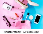 female accessories and shoes... | Shutterstock . vector #691881880