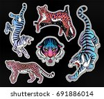 set of neon pop wild cat... | Shutterstock .eps vector #691886014