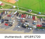 aerial view a temporary car... | Shutterstock . vector #691891720