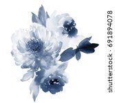 flowers watercolor illustration.... | Shutterstock . vector #691894078