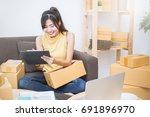 start up small business... | Shutterstock . vector #691896970