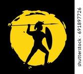legionnaire warrior silhouette... | Shutterstock .eps vector #691897726