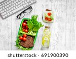 healthy lunch in office. lunch... | Shutterstock . vector #691900390