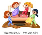 many girls at slumber party... | Shutterstock .eps vector #691901584