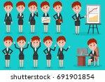 set of business woman character ... | Shutterstock .eps vector #691901854