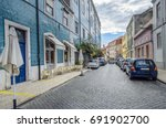 colorful tiled buildings and... | Shutterstock . vector #691902700