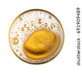 beer with bubble on glass... | Shutterstock . vector #691909489