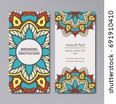 wedding invitation with floral... | Shutterstock .eps vector #691910410