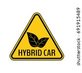 hybrid car caution sticker.... | Shutterstock .eps vector #691915489
