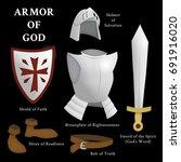 armor of god  ephesians 6 13 17 | Shutterstock . vector #691916020