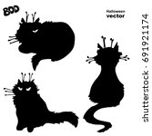 silhouettes of black witch cats.... | Shutterstock .eps vector #691921174