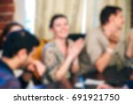 blurred people in the banquet... | Shutterstock . vector #691921750