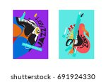 colorful international jazz... | Shutterstock .eps vector #691924330