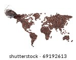 coffee map made of beans on... | Shutterstock . vector #69192613