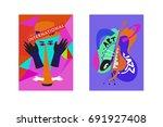 colorful international jazz... | Shutterstock .eps vector #691927408