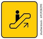 escalator up sign yellow.... | Shutterstock .eps vector #691928290