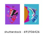 colorful international jazz... | Shutterstock .eps vector #691936426