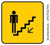 stairs down sign yellow. vector. | Shutterstock .eps vector #691936744