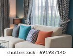 colorful pillows on modern sofa ... | Shutterstock . vector #691937140