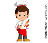 chef cook holding cleaver knife ...   Shutterstock . vector #691948654