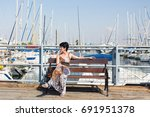 leisure woman on holiday near...   Shutterstock . vector #691951378