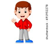 cute boy cartoon good posing   Shutterstock . vector #691952278