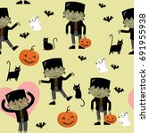 frankenstein pattern | Shutterstock .eps vector #691955938