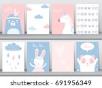 set of cute animals poster... | Shutterstock .eps vector #691956349