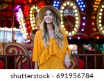 beautiful smiling tourist woman ... | Shutterstock . vector #691956784