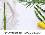 jewish festival of sukkot.... | Shutterstock . vector #691965100