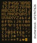 yellow led font  digital... | Shutterstock .eps vector #691967626