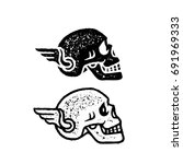 skull with wing vector... | Shutterstock .eps vector #691969333